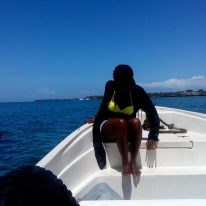 See who cannot wait for the boat to be anchored to step out